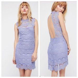 Free People Daydream Lace Purple Mini Dress NWT